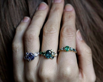 Deposit For Gemstone Cluster Engagement Ring of Your Choice, 14k or 18k Solid Gold