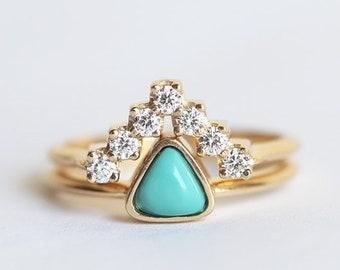 Turquoise Diamond Ring Turquoise Engagement Ring Turquoise Etsy