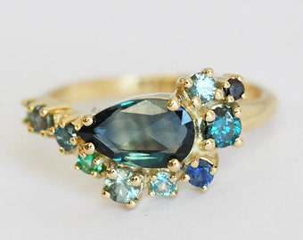 Blue Sapphire Ring, Cluster Engagement Ring, Pear Sapphire Ring, Green Blue Sapphire Ring, Cluster Ring, Sapphire Engagement Ring, Capucinne