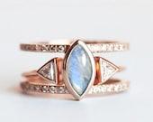 Moonstone Wedding Ring Set, Rainbow Moonstone Engagement Ring, Trillion Diamond Ring, Blue Moonstone Ring, Moonstone Rig Set, Moonstone Ring