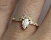 Modern Diamond Engagement Ring, 14k or 18k Solid Gold, GIA
