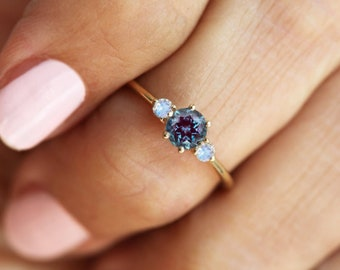 Alexandrite Ring blue to purple rose  in  reclaimed recycled .925 sterling silver The Seer custom size faceted reverse cut