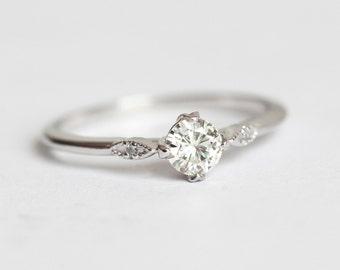 1 5 carat Rose Cut Diamond Ring Round Rose Cut Diamond Ring | Etsy