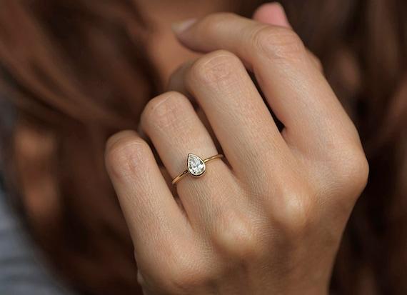 05 Karat Diamant Ring Birne Solitar Verlobungsring Etsy