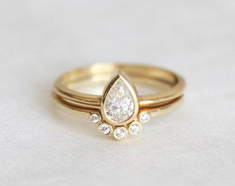 Pear Diamond Engagement Ring Set, GIA Diamond Wedding Ring Set for Her, 14k or 18k Solid Gold, Platinum