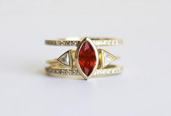 Ruby Ring Set July Birthstone Engagement Diamond Ring 14k Etsy