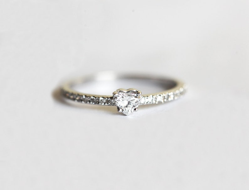 Heart Diamond Ring Heart Shaped Diamond Ring With Pave Etsy