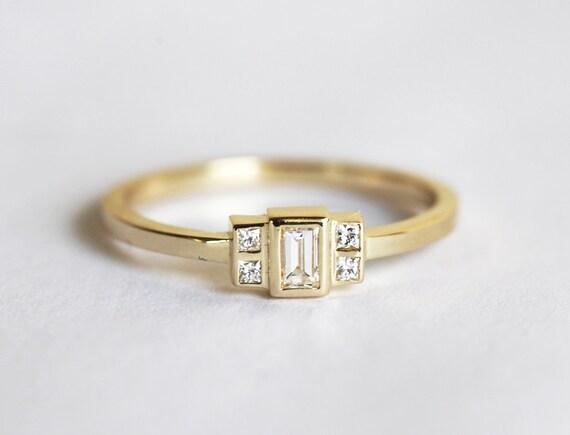 Baguette Diamond Ring Baguette Engagement Ring Gold Baguette   Etsy