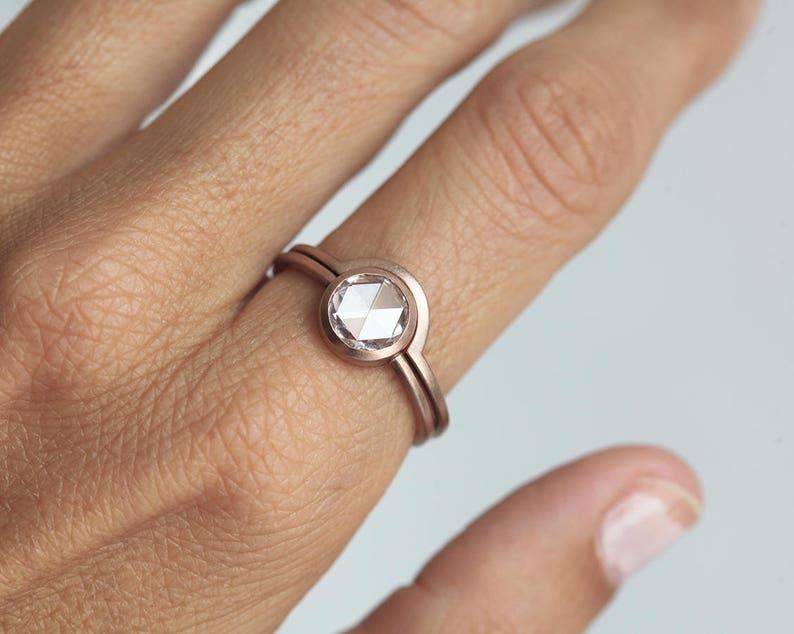 1 5 carat Rose Cut Diamond Ring, Round Rose Cut Diamond Ring, White Rose  Cut Diamond Ring, Solitaire Diamond Ring, Solitaire Rose Cut Ring