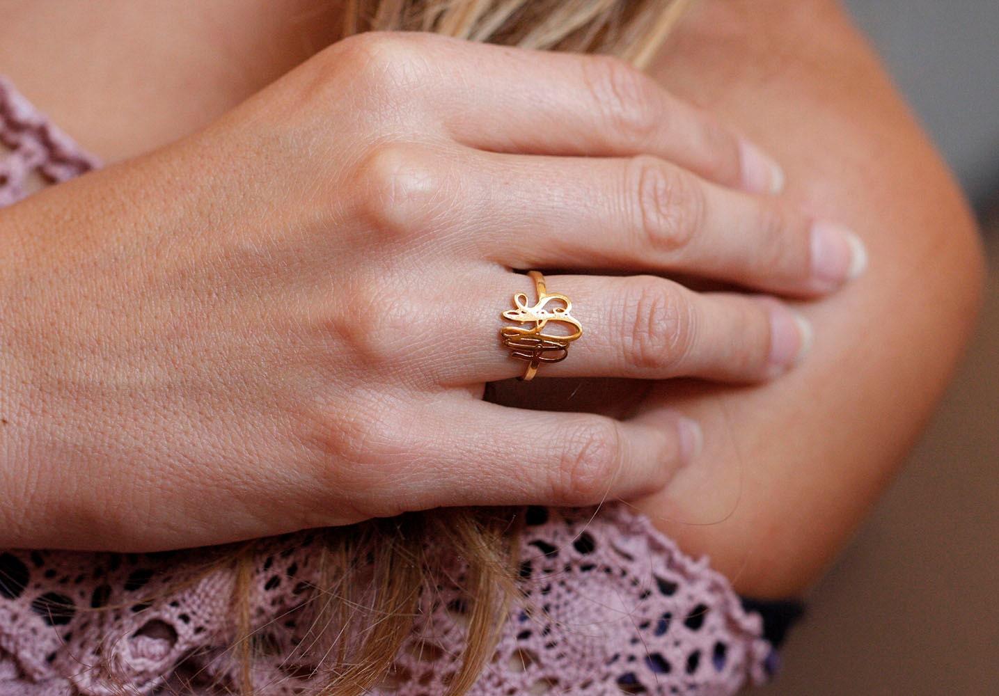 Gold Monogram Ring Gold Initial Rings Dainty Monogram Ring | Etsy
