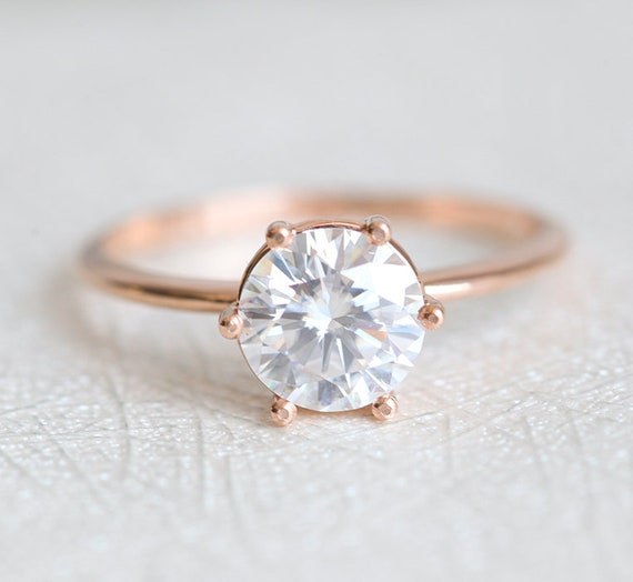 Solitaire diamond ring rose gold half carat diamond wedding  c91109d20e