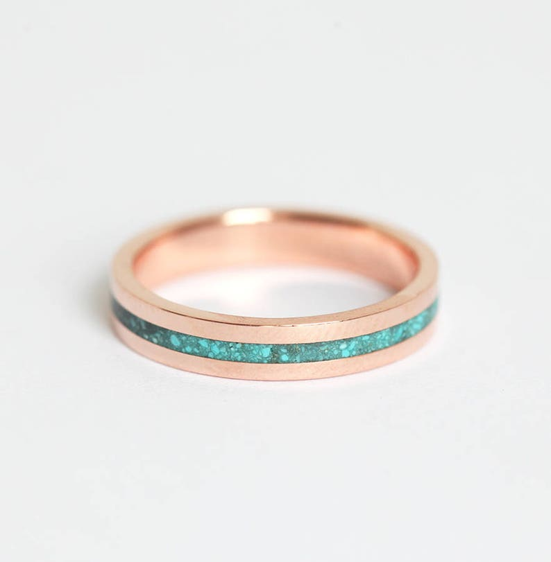 9f59a612b8848 Turquoise Ring, Wedding Band For Her, 14k Rose Gold Ring, 18k Gold, Simple  Unisex Ring, Inlay Ring, Wedding Ring For Him
