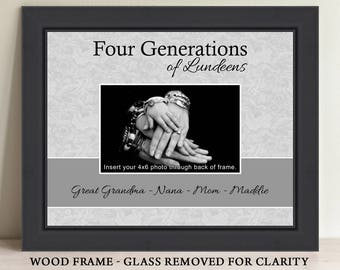 Four Generations Picture Frame Three Generations Picture Frame Personalized Picture Frame Christmas Gift Gift For Dad Gift for Mom