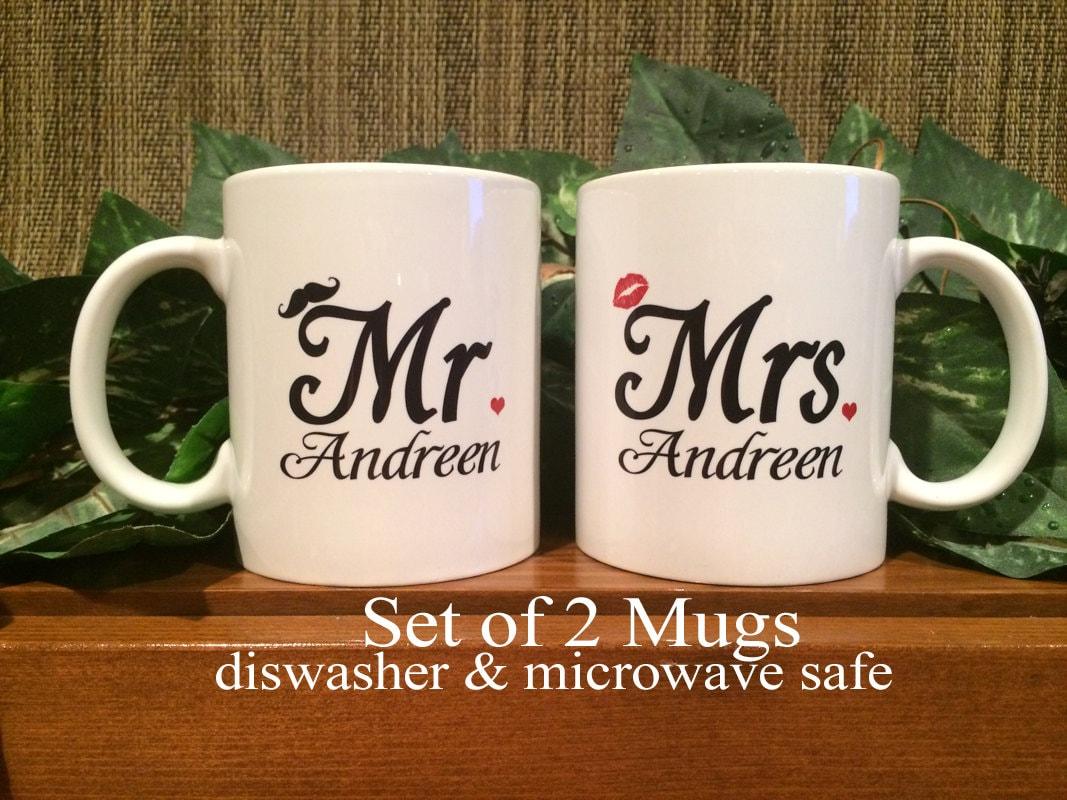 Personalized Coffee Mugs Mr. & Mrs. Valentines Wedding | Etsy