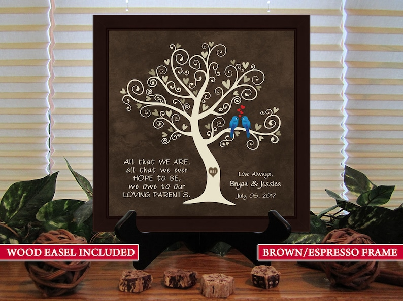 Parents of the Bride Love Brid Framed Print With Easel Parents of the Groom Wedding Thank You Gift Framed Print Wedding Gift for Parents