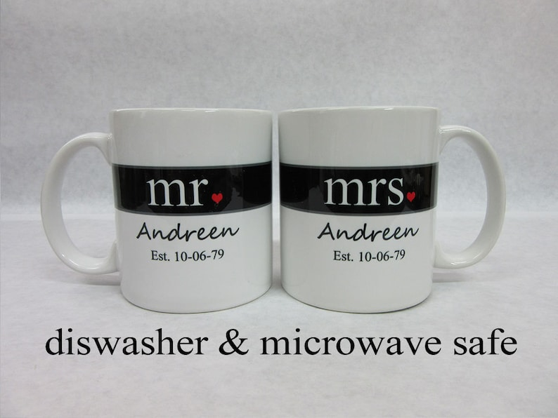Mr And Mrs Coffee Mugs Bridal Shower Gift Unique Wedding Etsy