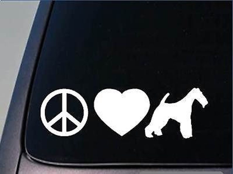 Peace Love Fox Terrier Sticker *H125* 8 Vinyl Wirehaired Smooth