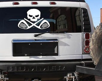 "Large 10X12"" Golf Sticker Club Decal Skull Crossbones Golf Cart Driver"