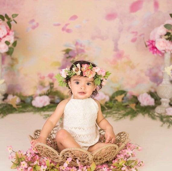 Kid Flower Crown Shades of Pink Peony Crown Baby Flower  3cfe7d029e8