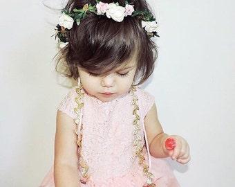 Baby Flower Crown, Ivory, Pink, Gold, Flower Girl Crown, Baby Halo, Bridal Flower Crown, Baby Photo Prop, Boho Flower Crown, Boho Halo