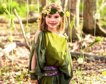5b4f3763d1dd Butterfly Fairy Costume | Girls Fairy Dress | Green Woodland Fairy Kids  Costume | Atelier Spatz