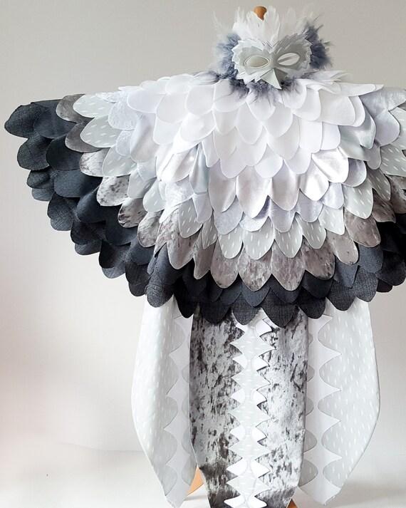 Eulenkostüm Für Kinder Eulen Verkleidung Vogelmantel Eulen Flügel Federnumhang Fuer Halloween Handgemacht In Farben Deiner Wahl