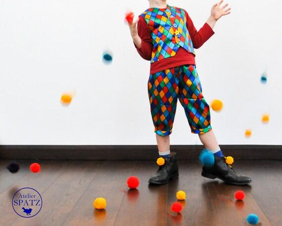 Jester Harlequin Clown Costume Carnival Fasching Clown Etsy