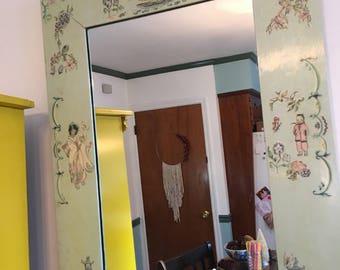 Oriental Powder Blue Hand Painted Mirror