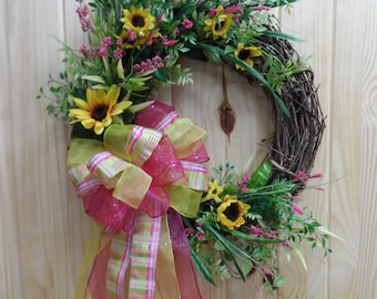 453cf69341ee Grapevine Whimsical Wreath with Sunflowers