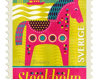 Stockholm stamp Giclee print