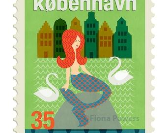 Copenhagen stamp Giclee print