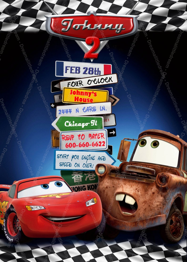 Disney Cars Printable Invitation Etsy