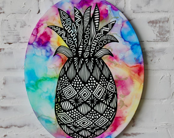 Canvas Pineapple Alcohol Ink