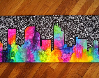 Melt Crayons On Canvas Coloring Page | Melted Crayon Art Etsy