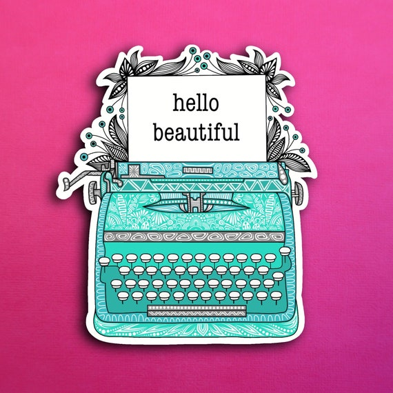 Teal Typewriter Sticker (WATERPROOF)
