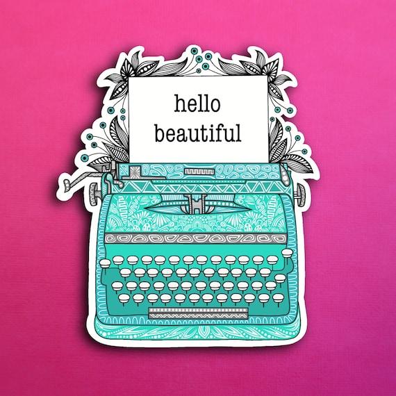 Teal Typewriter Sticker (WATERPROOF)