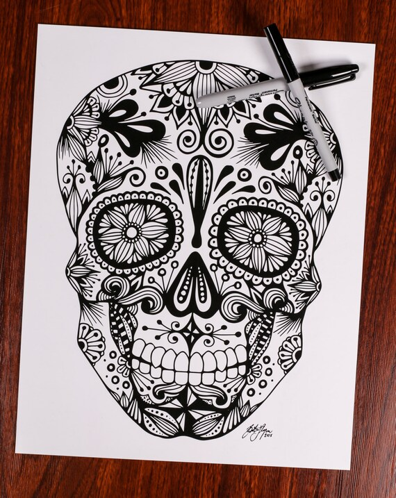 Sugar Skull Print Etsy