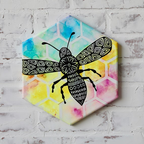 Canvas Bumble Bee Alcohol Ink