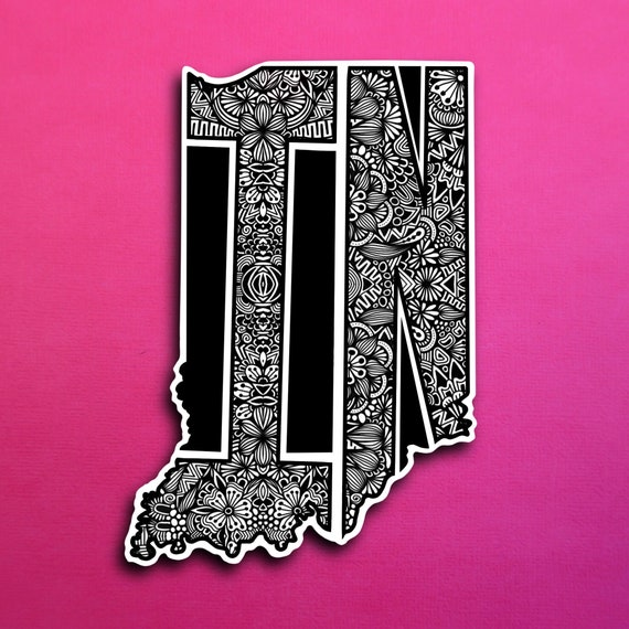 State Indiana Sticker (WATERPROOF)