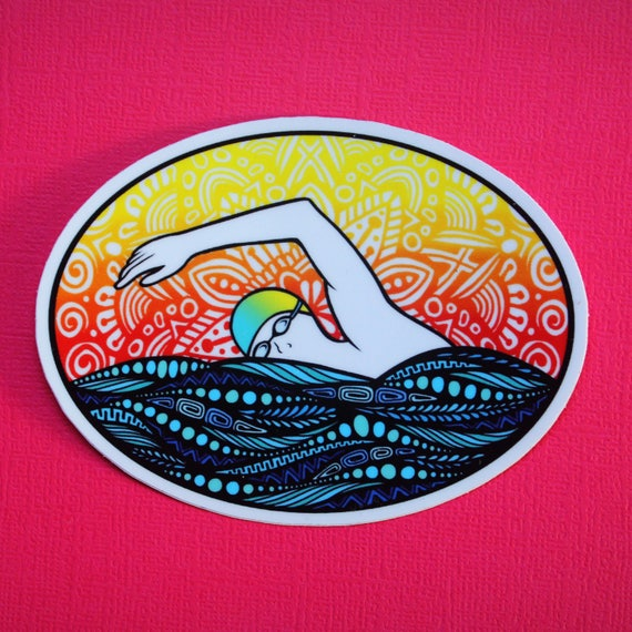 Swim (male) Sticker (WATERPROOF)