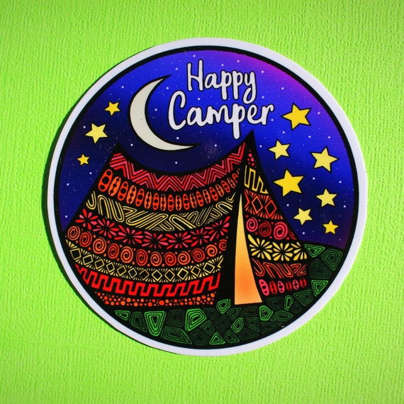 Happy Camper Sticker (WATERPROOF)