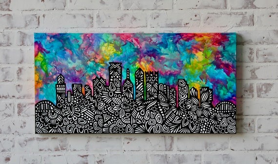 Canvas Pittsburgh Crayon Melt