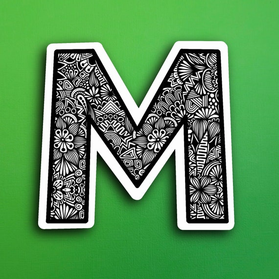 Small Block Letter M Sticker (WATERPROOF)