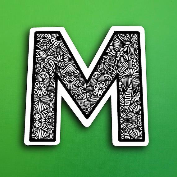 Small Block Letter M Sticker (WATERPROOF)