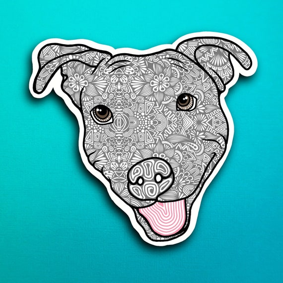 Gray Pittbull Sticker (WATERPROOF)