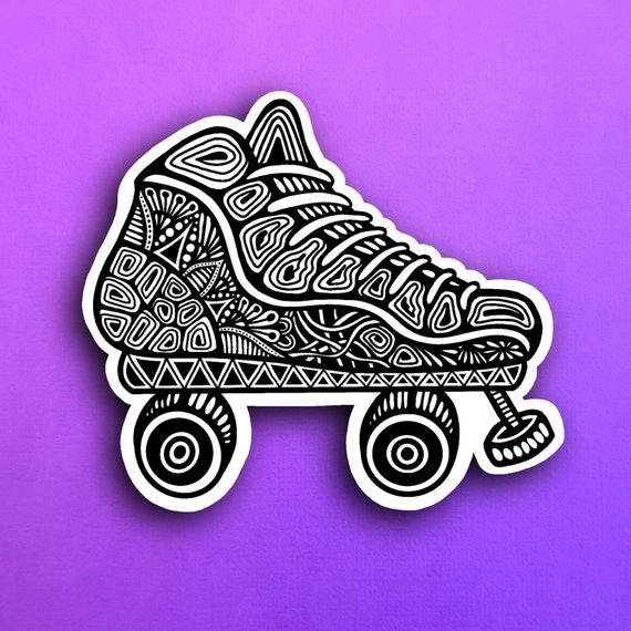 B&W Roller Skate Sticker (WATERPROOF)