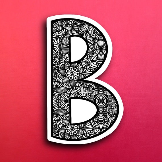 Small Block Letter B Sticker (WATERPROOF)