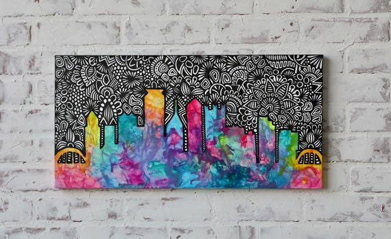 Canvas Skyline Alcohol Ink