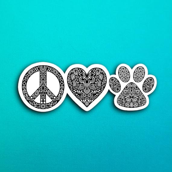 Peace Love Paw Sticker (WATERPROOF)
