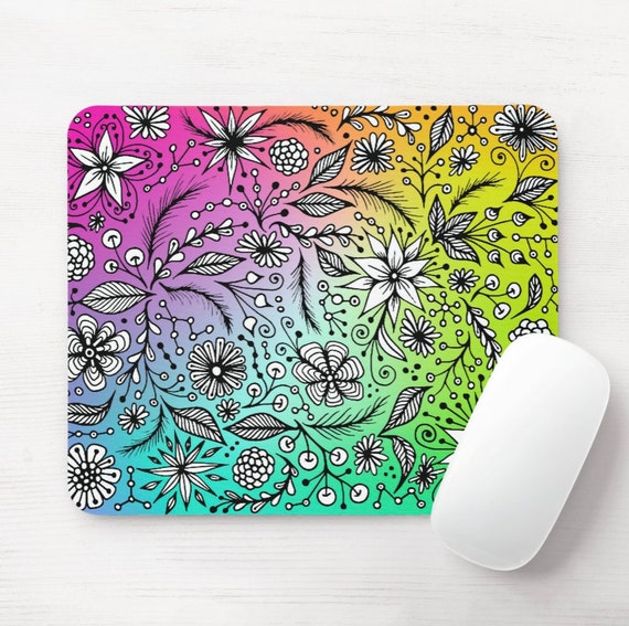 Rainbow Doodle Mouse Pad